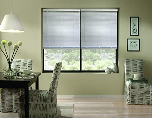 Windowsandgarden Cordless Aluminum Mini Blinds, 54W x 46H, Charcoal, Custom Any Size from 18 to 72 Wide
