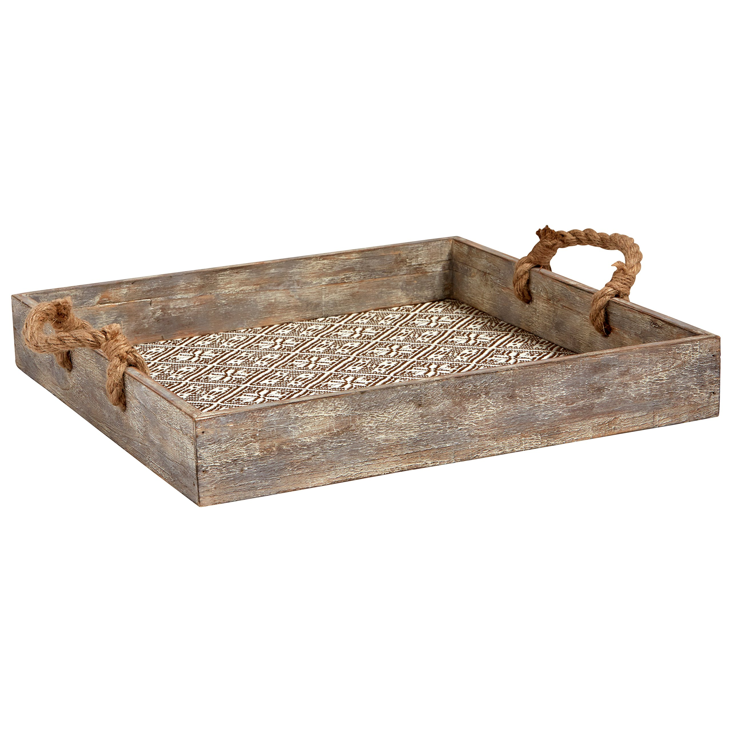 Stone & Beam Vintage Farmhouse Wood and Rope Tray, 15.75''W, White by Stone & Beam (Image #1)