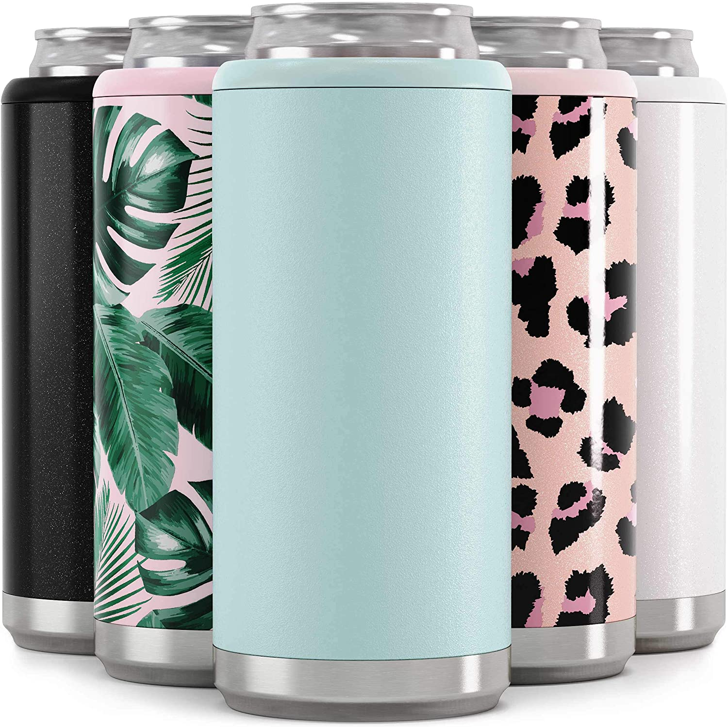 Maars Skinny Can Cooler for Slim Beer & Hard Seltzer | Stainless Steel 12oz Koozy Sleeve, Double Wall Vacuum Insulated Drink Holder - Matte Seaglass