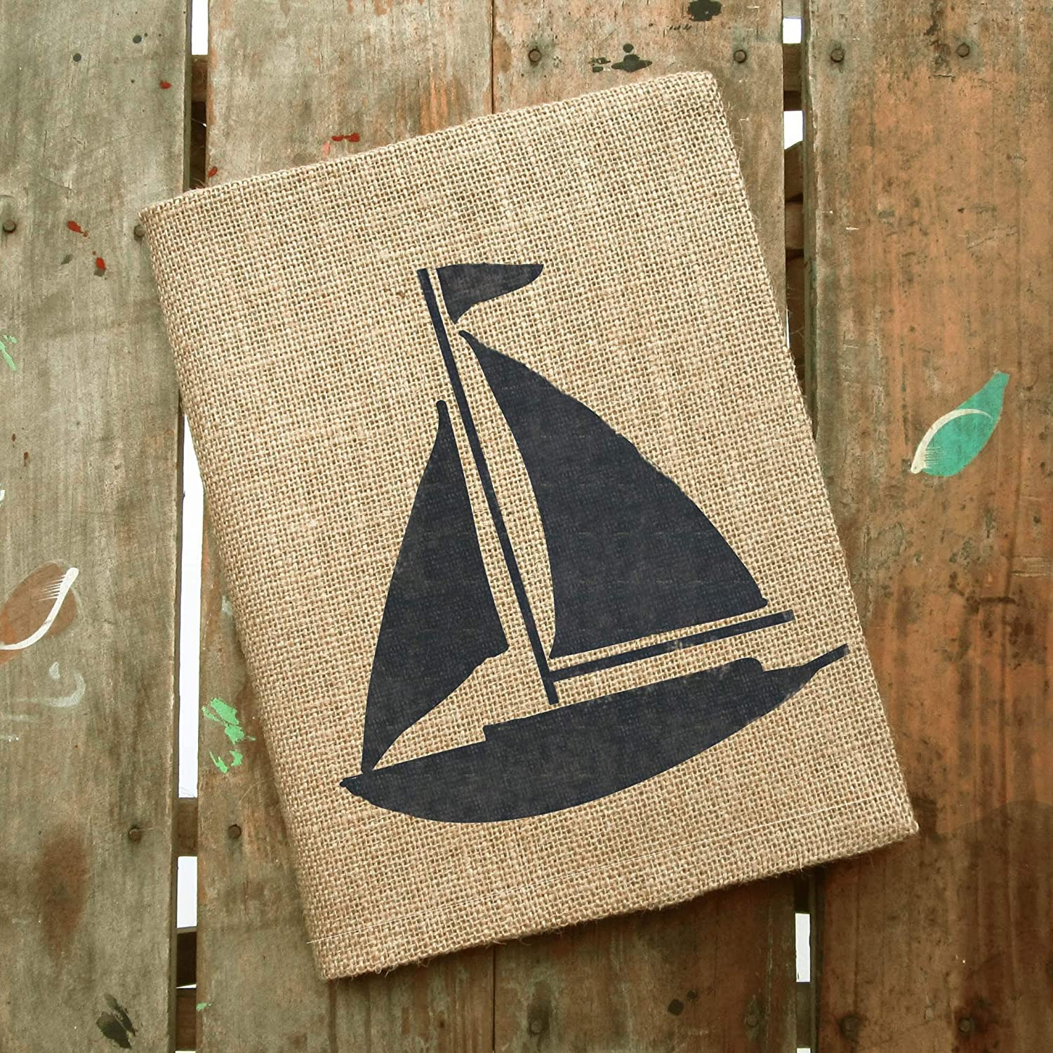 Sail Alway - Sailboat Burlap Journal Cover - Composition Notebook Included - 9.75' x 7.5' - Nautical Sailor Notebook