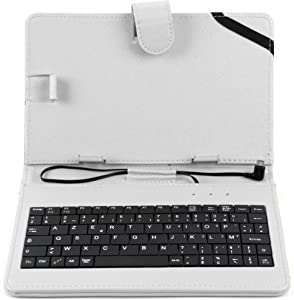 DURAGADGET White PU Leather AZERTY French Keyboard Case w/Stand - Compatible with Acer Iconia Tab A1 | A1-811 | A1-8 | W3 | W3-810 | W4-820 & A100 Tablets