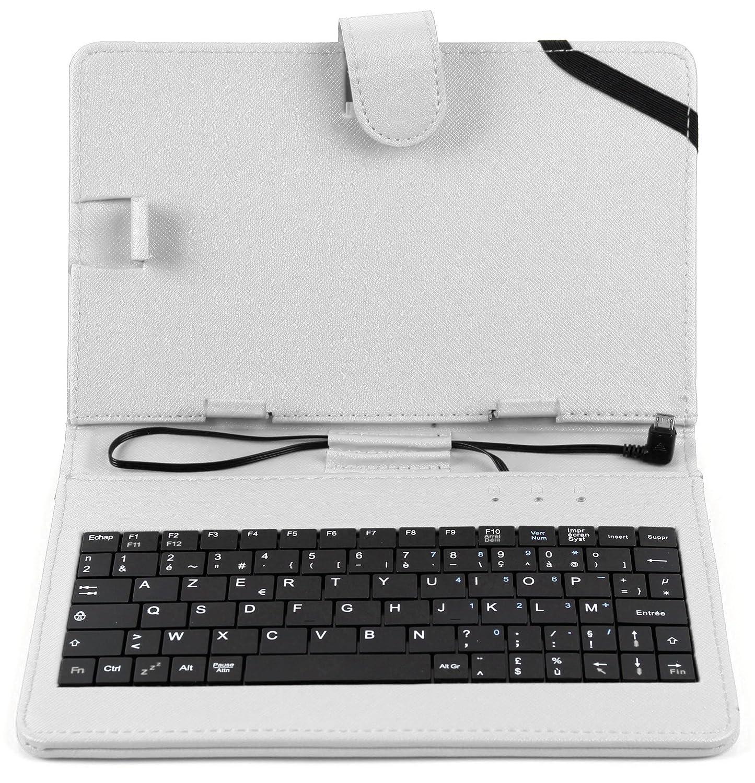 DURAGADGET Fauxレザーフランス語AZERTYキーボードケースinホワイトwith Micro USB &内蔵スタンドfor新しいLenovo Tab 2 a7 – 30 , Lenovo Tab 2 a7 – 10 & Lenovoタブs8 – 50   B0182KMLVK