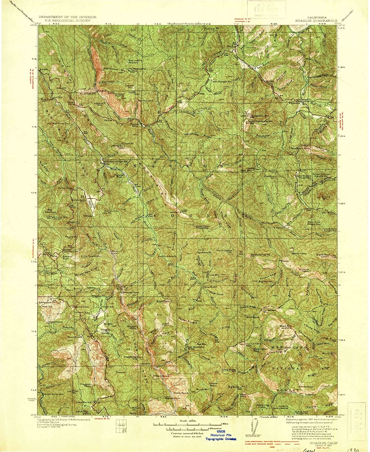 Amazon com: California Maps - 1935 Hoaglin, CA USGS