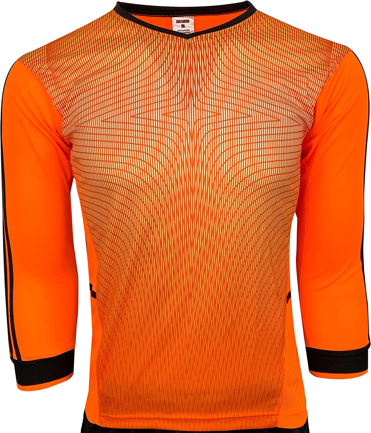Just 4 Kicks Goalkeeper Jersey, (Orange, Neon and Blue) Padded Elbow Goalie Shirt for Kids and Adults: Clothing