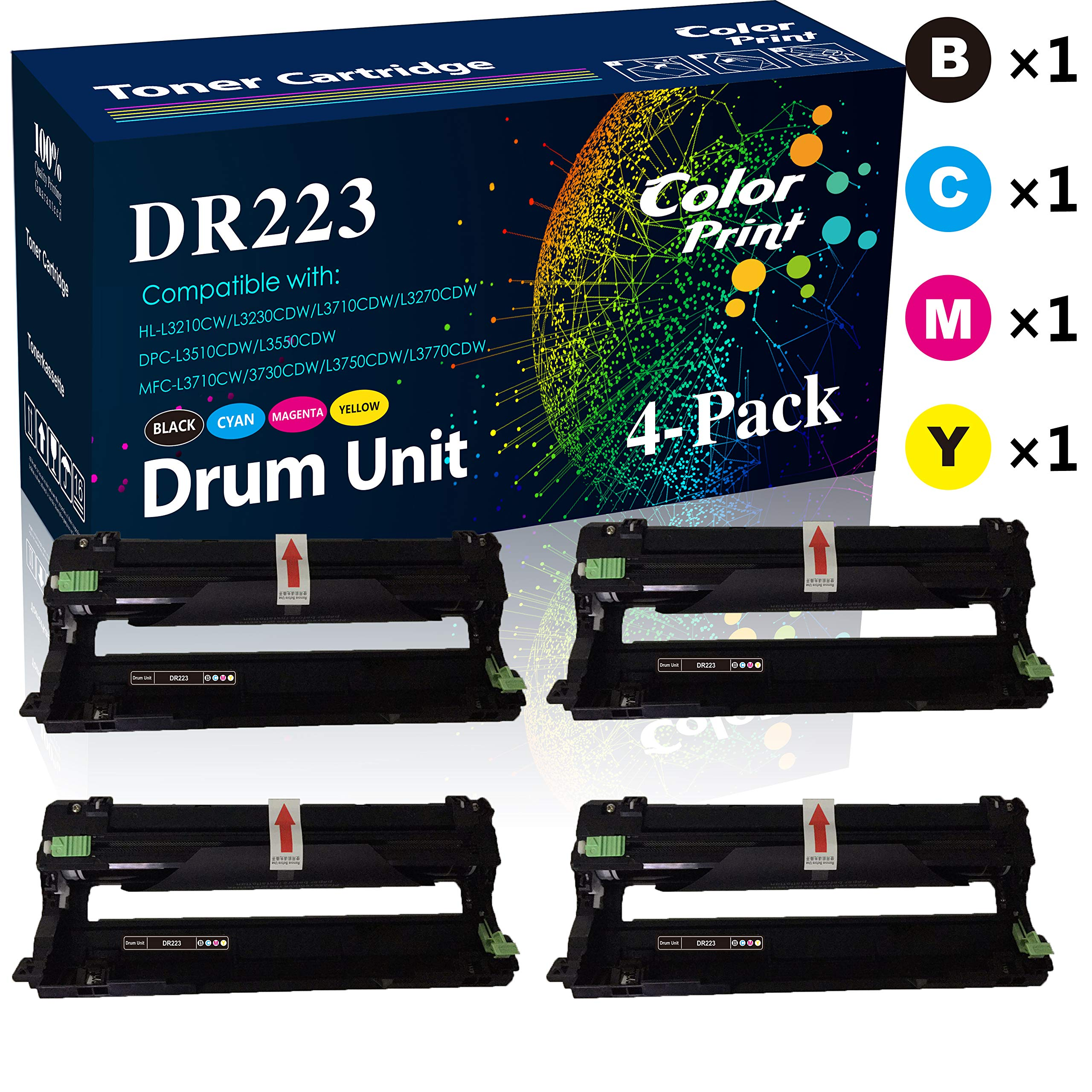 2-Pack Yellow Compatible Drum Unit Replacement for Brother DR223CL DR223 DR-223 use with MFC-L3770CDW MFC-L3750CDW HL-L3230CDW HL-L3290CDW HL-L3210CW MFC-L3710CW Printer