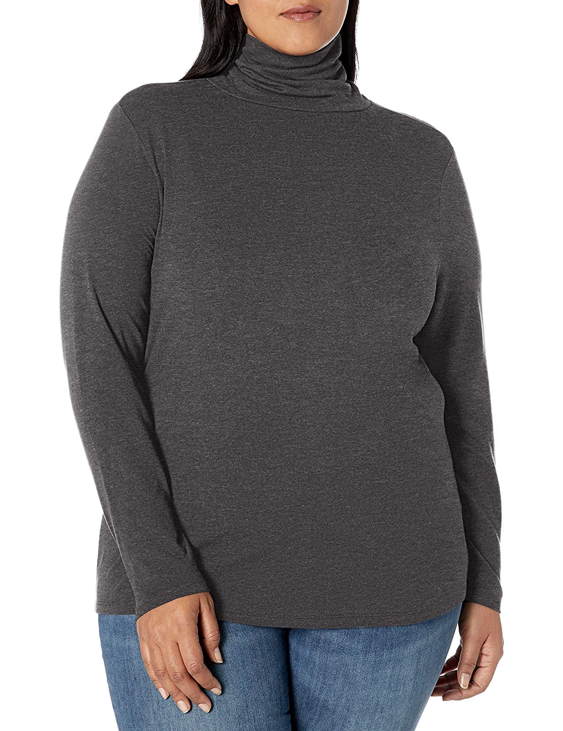 2X Charcoal Heather Essentials Womens Plus Size Long-Sleeve Turtleneck