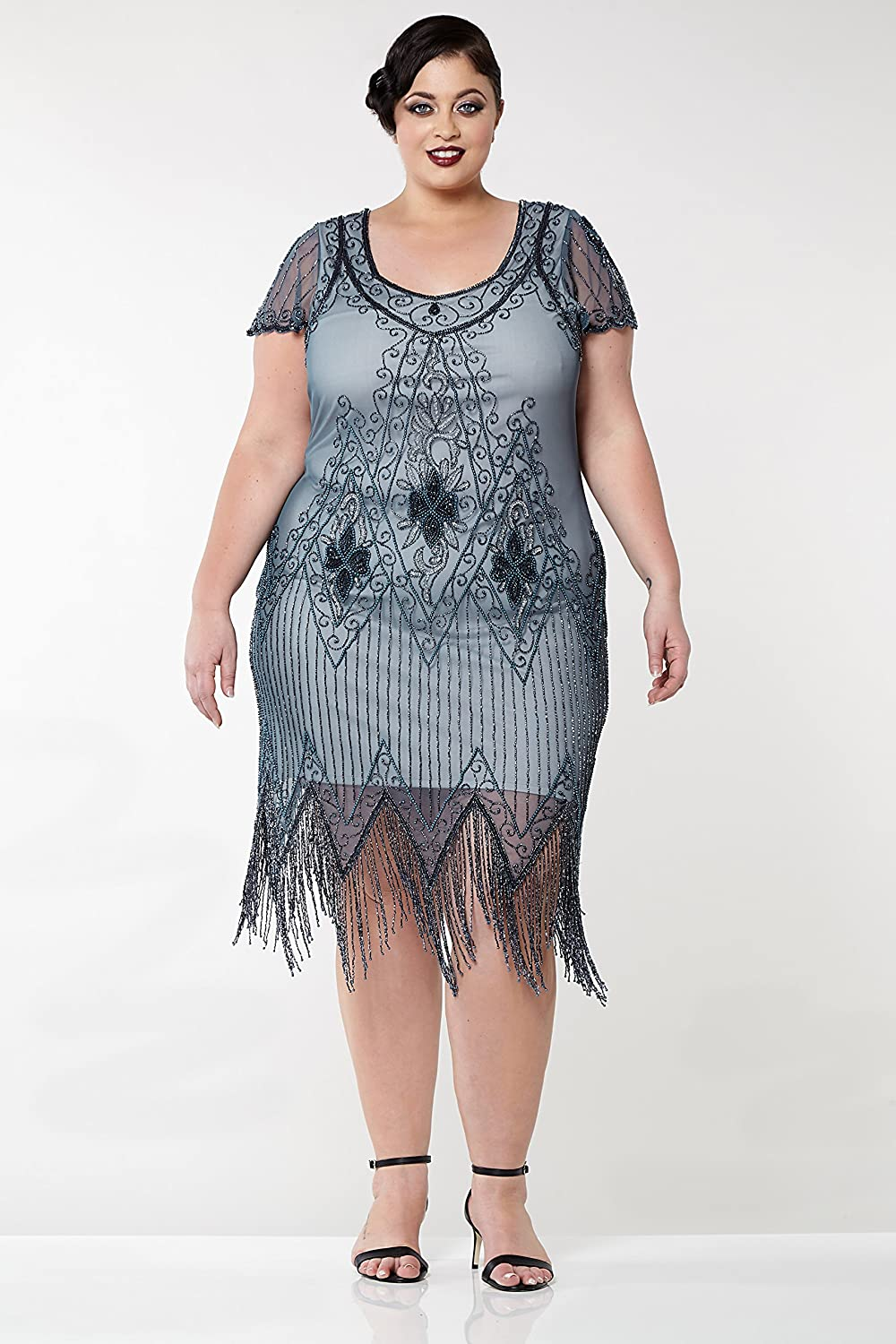 1920s Plus Size Flapper Dresses, Gatsby Dresses, Flapper Costumes gatsbylady london Annette Vintage Inspired Fringe Flapper Dress in Blue Grey $124.86 AT vintagedancer.com