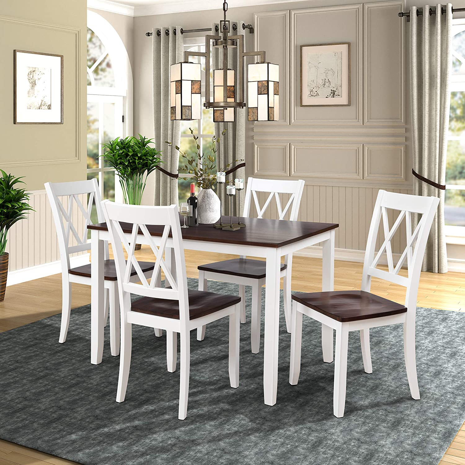 Amazon Com 5 Piece Dining Table Set Home Kitchen Table And Chairs Wood Dining Set Black White White Table Chair Sets