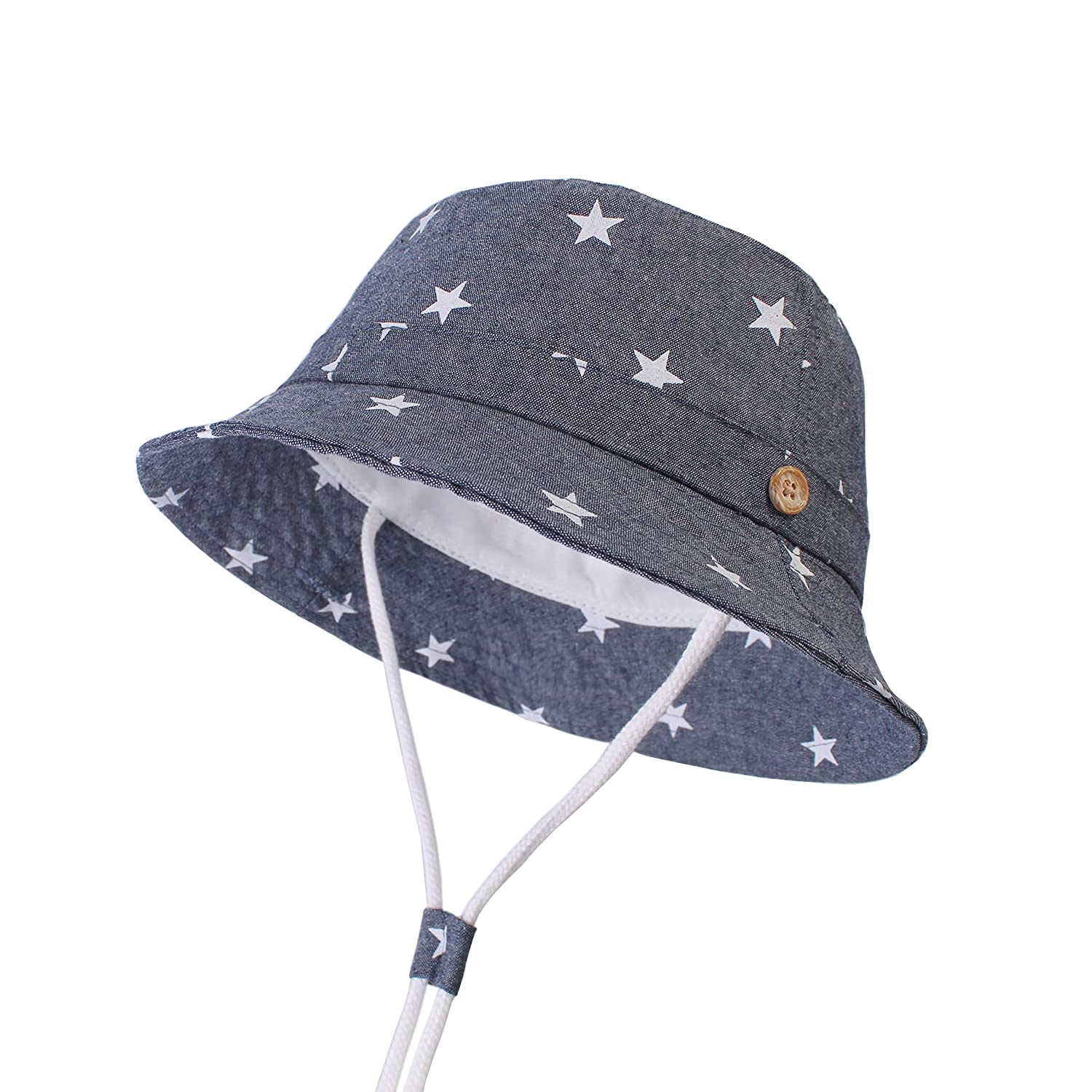 acf089910df Amazon.com  Sun Protection Hat for Kids Toddler Boys Girls Wide Brim Summer  Play Hat Cotton Baby Bucket Hat with Chin Strap  Clothing