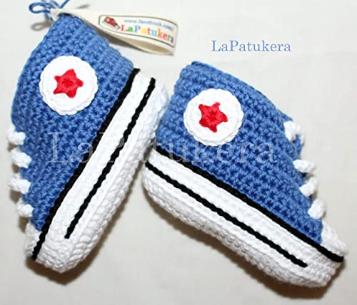 Patucos para bebé de crochet, Unisex. Estilo converse all star, de color azul vaquero, 100% algodón, tallas de 0 hasta 9 meses, hechos a mano en España. Regalo para bebé.: Amazon.es: Handmade
