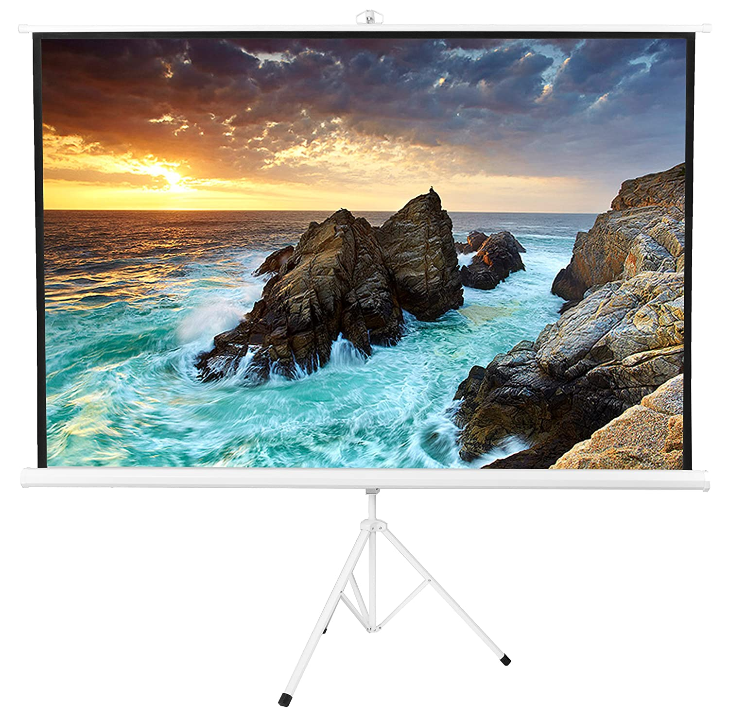 VIVO 100' Portable White Frame Indoor Outdoor Projector Screen, 100 Inch Diagonal Projection HD 4:3 Projection Pull Up Foldable Stand Tripod (PS-T-100W)