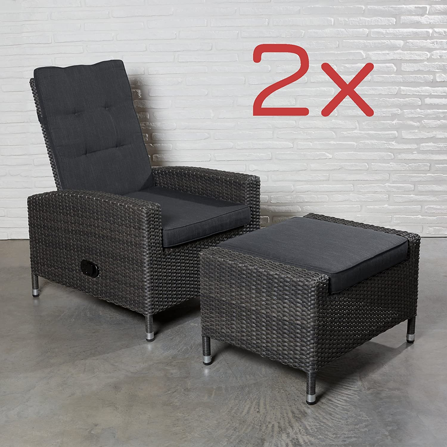 2er set liegesessel sessel relax polyrattan gartensessel verstellbar gartenset online bestellen. Black Bedroom Furniture Sets. Home Design Ideas