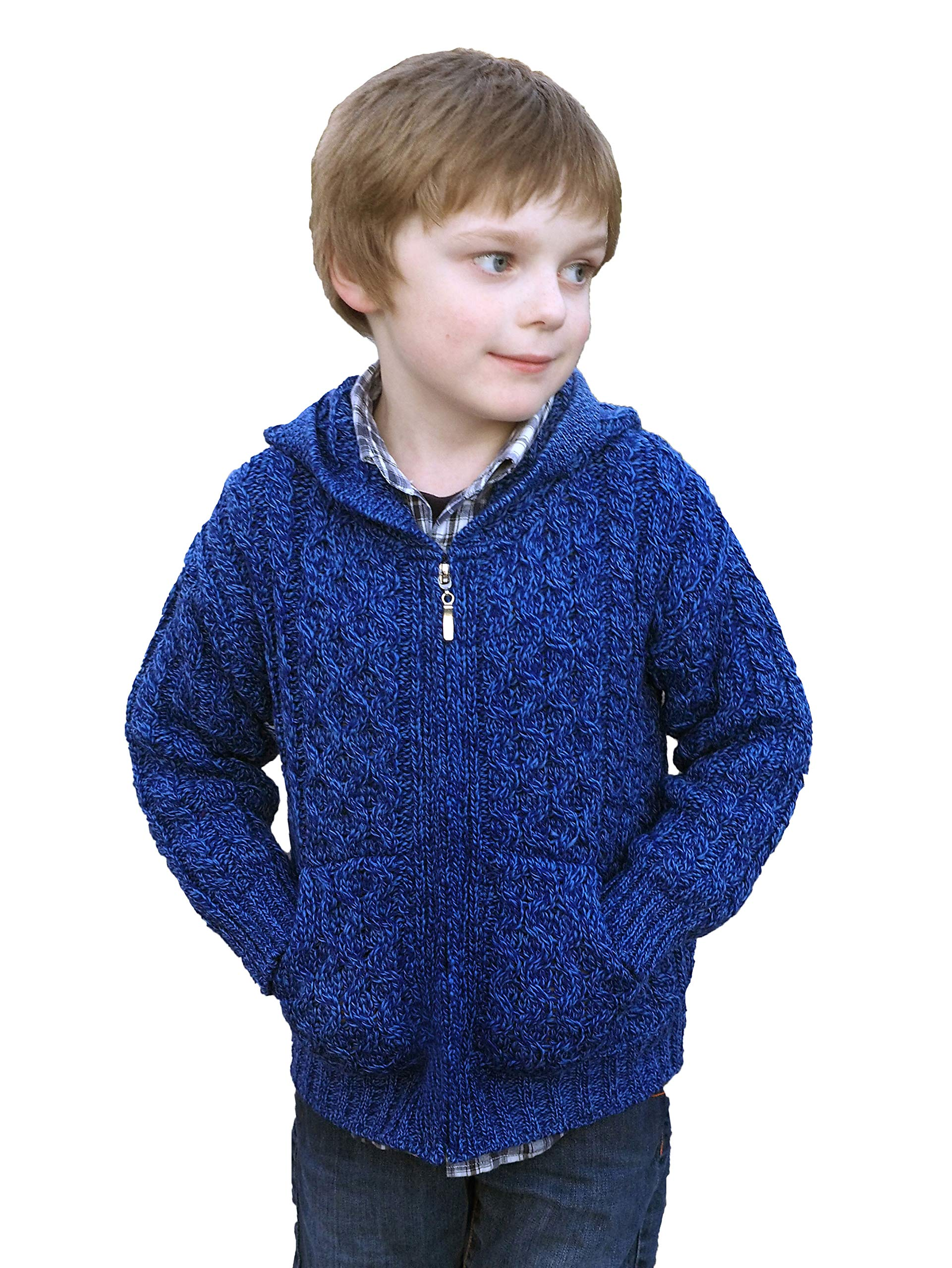 Aran Crafts Hooded Cardigan Sweater 4/5 Marl Blue (HD4039-4/5-BLU)