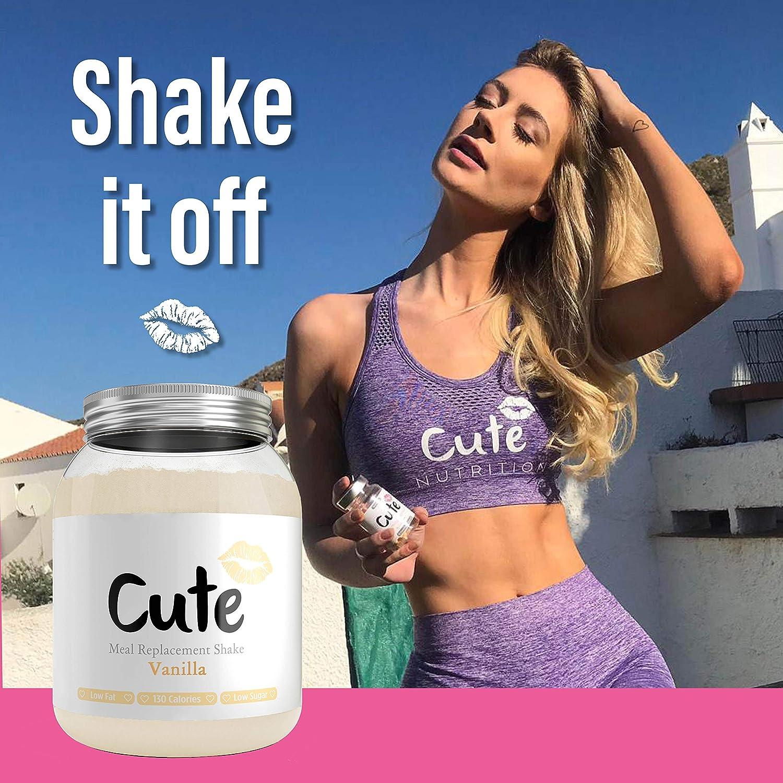 Cute Nutrition Batido de Reemplazo Sabor Vainilla para el Control de la Pérdida de Peso en Polvo Bebida Dietética Para Mujer Bote de 500g