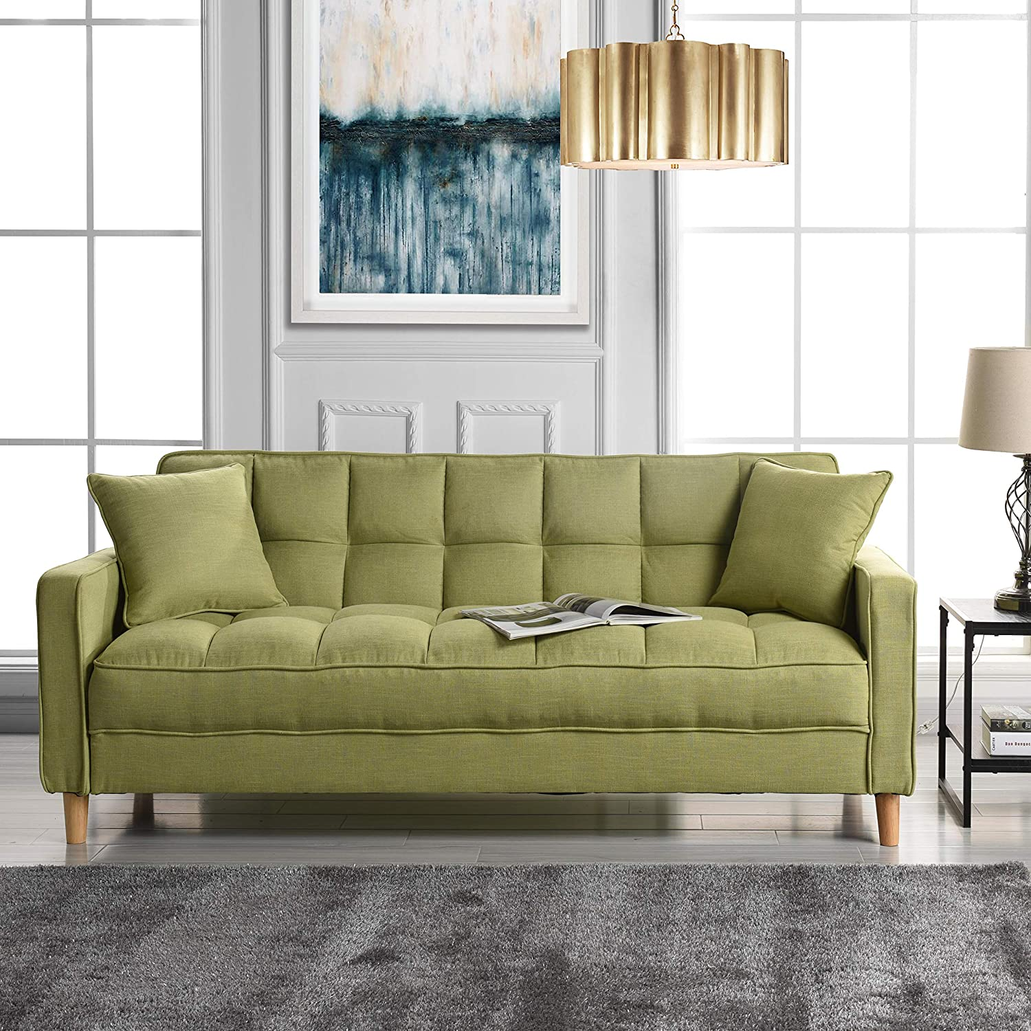 Amazon com modern linen fabric tufted small space living room sofa couch green kitchen dining