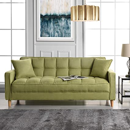 DIVANO ROMA FURNITURE Modern Linen Fabric Tufted Small Space Living Room Sofa Couch (Green)