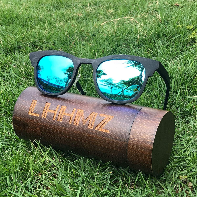 LHHMZ Donna Uomo Occhiali da sole in bamb/ù polarizzati fatti a mano Vintage leggero Lenti Polarizzate/Occhiali da sole alla moda Occhiali da sole galleggianti con Bamboo Case