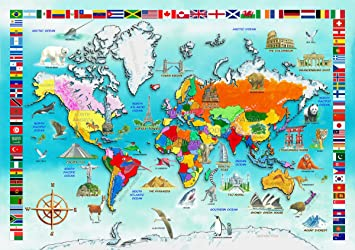 Wentworth wooden jigsaw puzzles i know my world map 50pc amazon wentworth wooden jigsaw puzzles i know my world map 50pc gumiabroncs Image collections