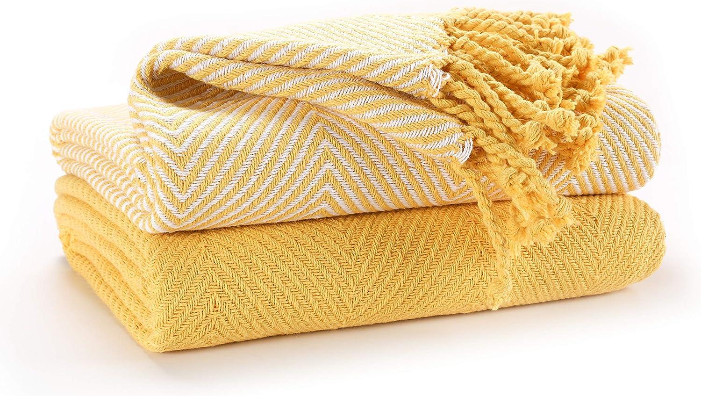 EHC Luxury Pack of 12 Chevron Cotton Single Sofa Blankets, 112 x ...