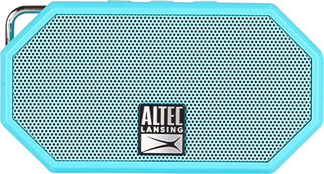 Altec Lansing Mini H2O - Wireless Bluetooth Waterproof Speaker, Floating, IP67, Portable, Strong Bass, Rich Stereo System, Microphone, 30 ft Range, Lightweight, 6-Hour Battery, Aqua Blue (IMW257-AB)