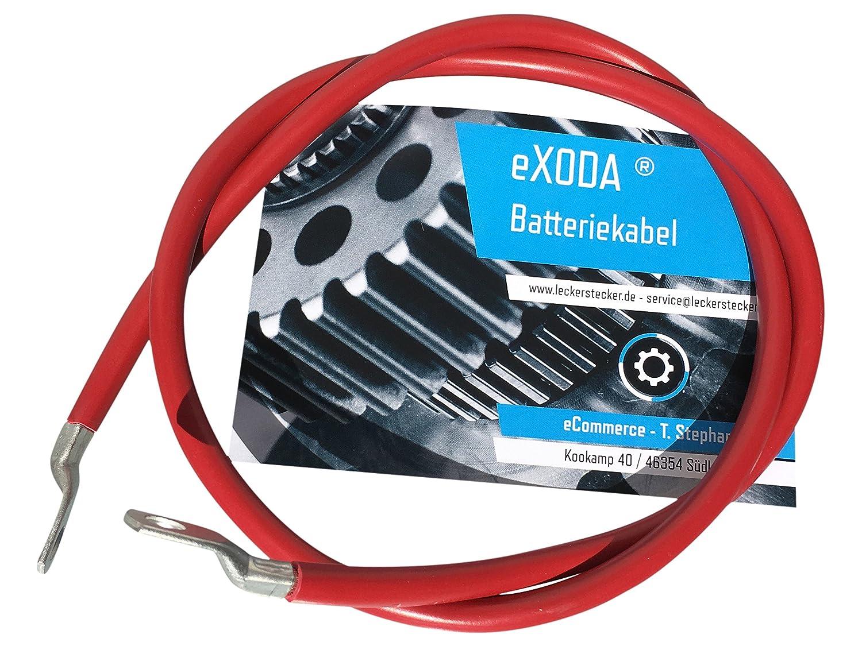 eXODA Cavo da batteria 150cm Cavo di alimentazione da 25 mm² in rame con estremità ad anello M8 rosso 12V cavo da auto