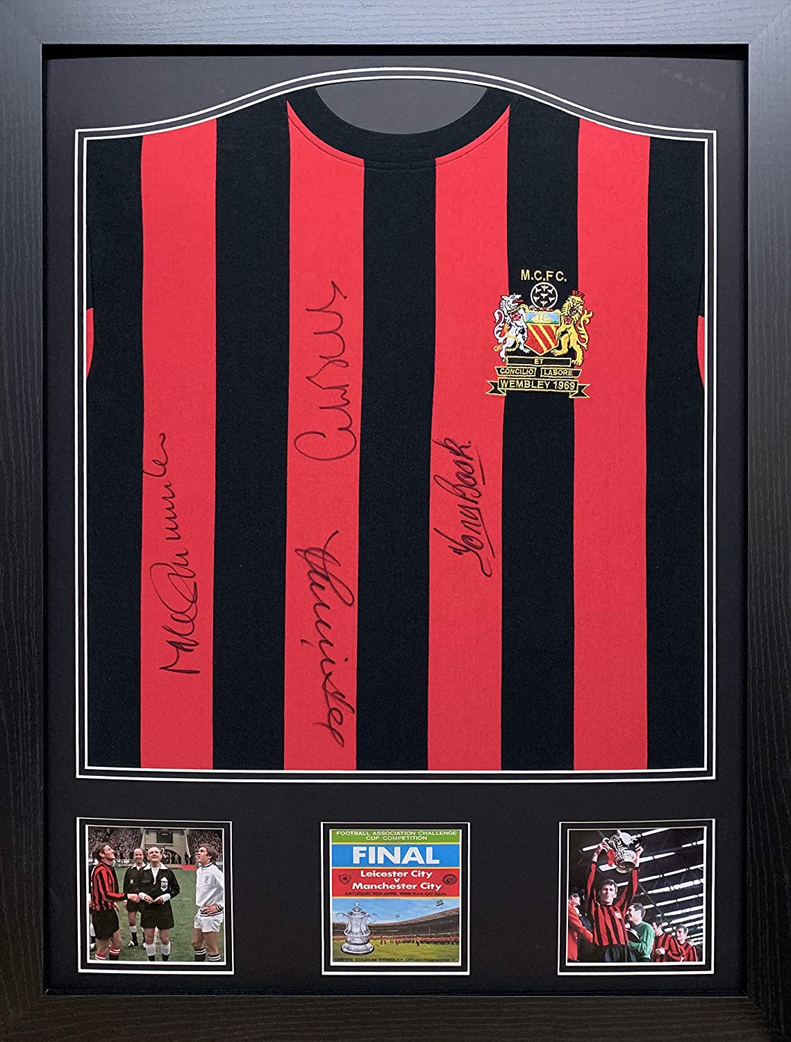Allstarsignings Framed Official retro Manchester City 1969 Cup Final football shirt signed by Bell//Lee//Summerbee//Book with COA and proof Professionally framed and ready to hang.