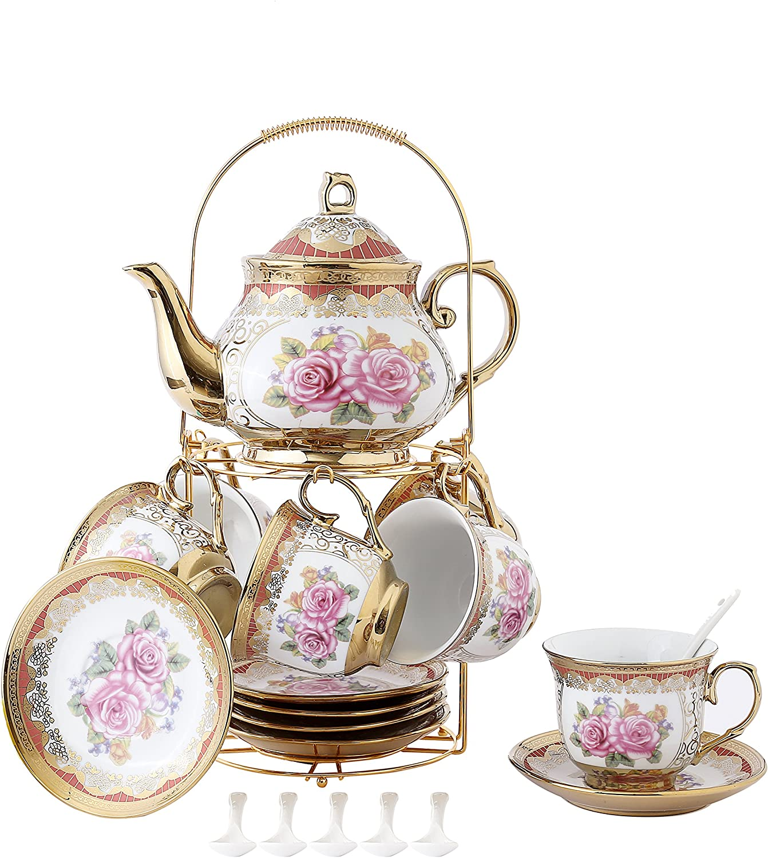 ufengke 4 Piece European Retro Titanium Ceramic Tea Set with Metal Holder,  Porcelain Tea Cups Set, for Wedding, Red Rose Painting