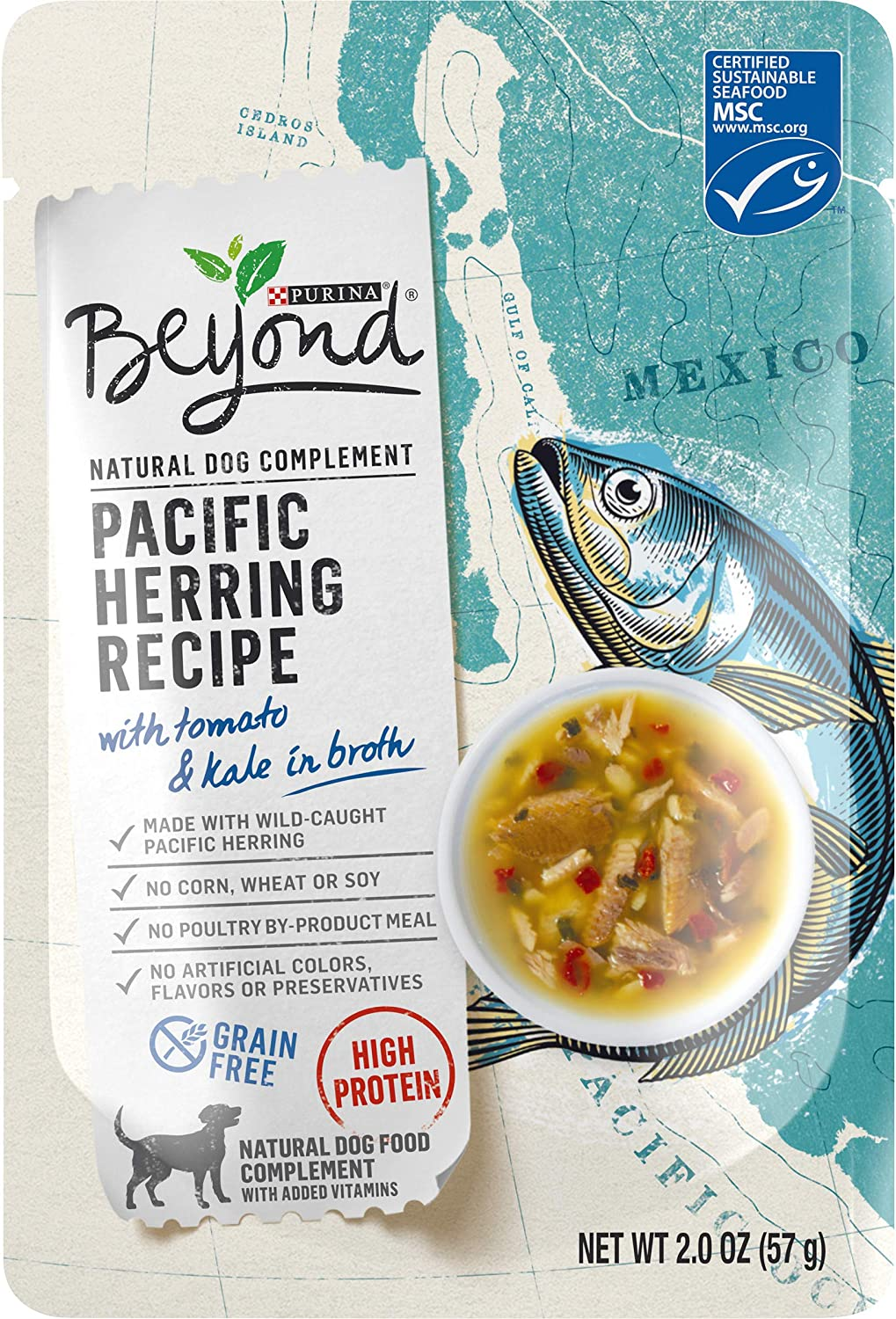 Purina Beyond Natural, High Protein, Grain Free Wet Dog Food Complement, Pacific Herring Recipe - (16) 2 oz. Pouches