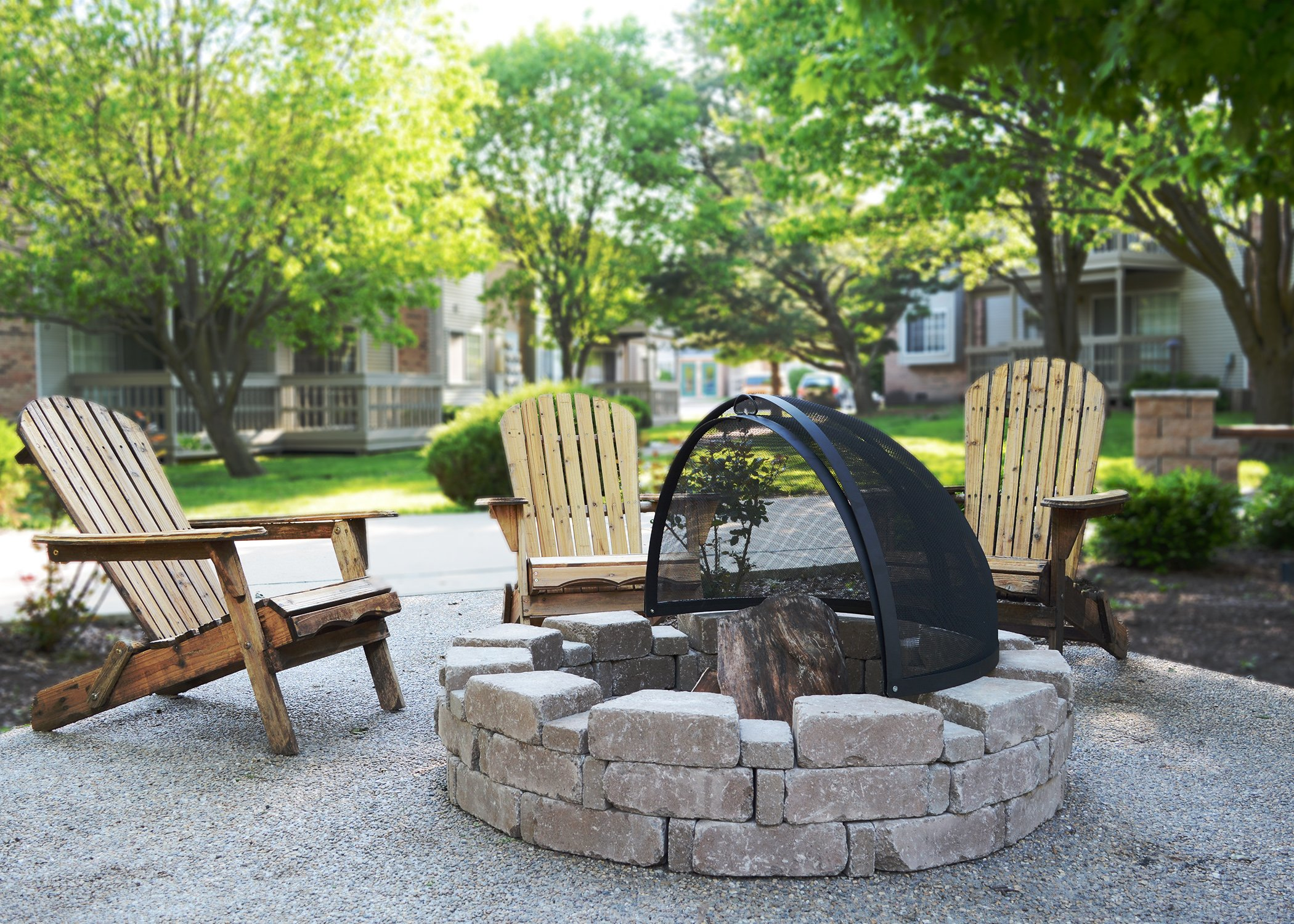 32-Inch Fire Pit Easy Access Spark Screen
