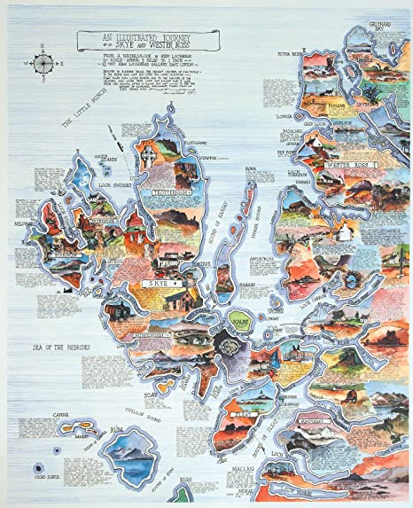 Map Of Skye Pictorial Map of Skye and Wester Ross by Ken Lochhead: Amazon.co  Map Of Skye