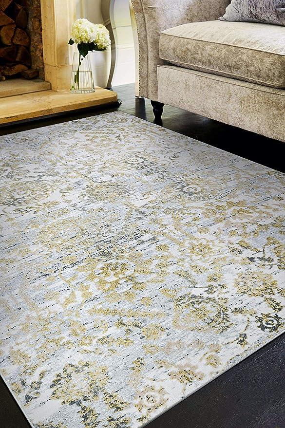 Amazon Com Couristan Calinda Marlowe Area Rug 3 3 X 5 3 Gold Silver Ivory Home Kitchen
