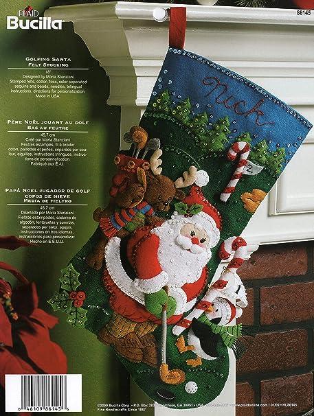Bucilla 18 Inch Christmas Stocking Felt Applique Kit 86145 Golfing Santa