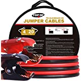 TOPDC 100% Copper Battery Jumper Cables 4 Gauge 20 Feet 300AMP Heavy Duty Booster Cables with Carry Bag and Safety Gloves (4AWG x 20Ft)