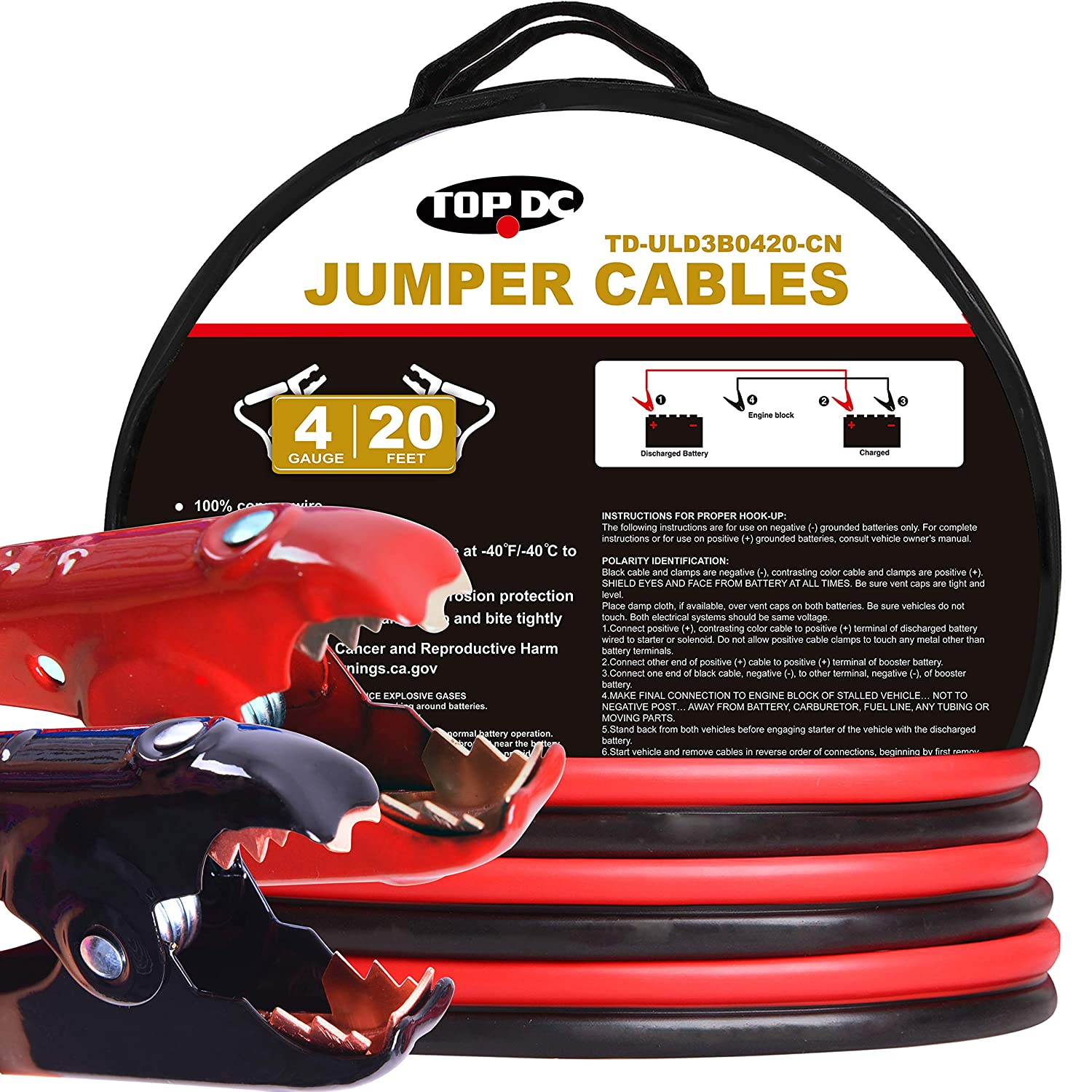 TOPDC 100% Copper Jumper Cables 4 Gauge 16 Feet 380AMP Heavy Duty Booster Cables with Carry Bag and Safety Gloves (4AWG x 16Ft) TD-UL010416
