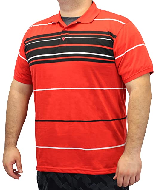91c7c454c4cf8a Enimay Men s Big and Tall Collared Striped Casual Polo Shirts 3XL 4XL 5XL  Red Black 1501 XXX-Large at Amazon Men s Clothing store
