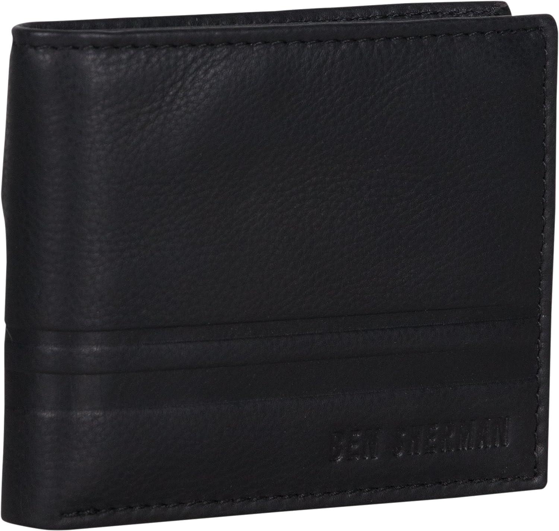 Mens Ben Sherman Dack Black Leather Money Coin ID Credit Card Holder Wallet
