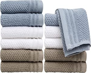 "Pleasant Home Washcloths Set - 12 Pack (12"" x 12"") – 488 GSM- 100% Ring Spun Cotton Wash Cloth - Super Soft and Highly Absorbent Face Towels (Grey Blue Combo, Popcorn Design)"