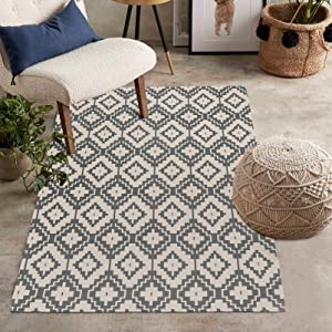 Uphome Indoor Outdoor Rug 3' x 5' Gray Farmhouse Patio Rug Hand Woven Moroccan Cotton Area Rug Modern Boho Geometric Machine Washable Carpet for Entryway Bedroom Living Room