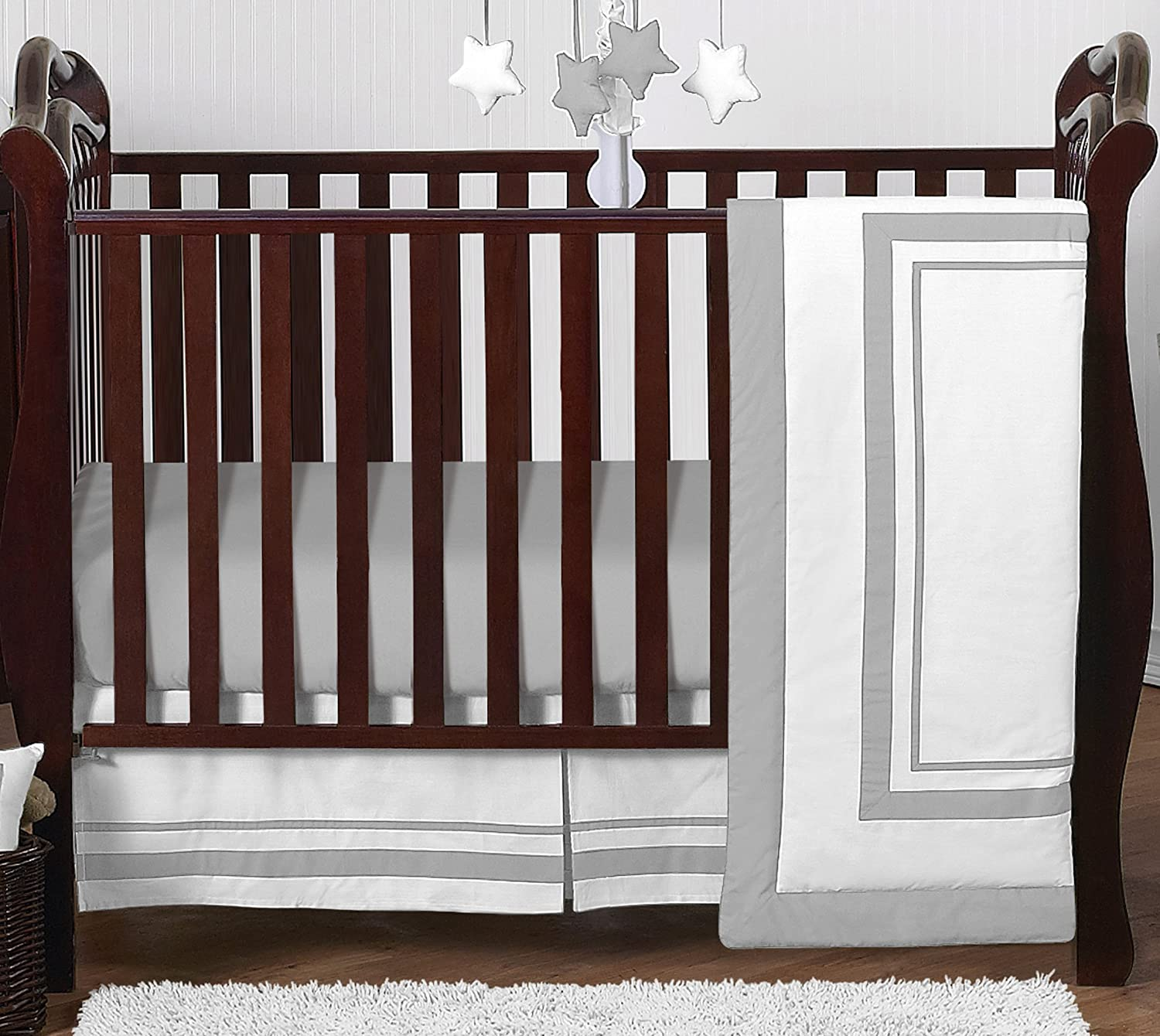Contemporary White and Gray Modern Hotel Grey Baby Boy Girl Unisex Bedding 4 Piece Crib Set Without Bumper Sweet Jojo Designs