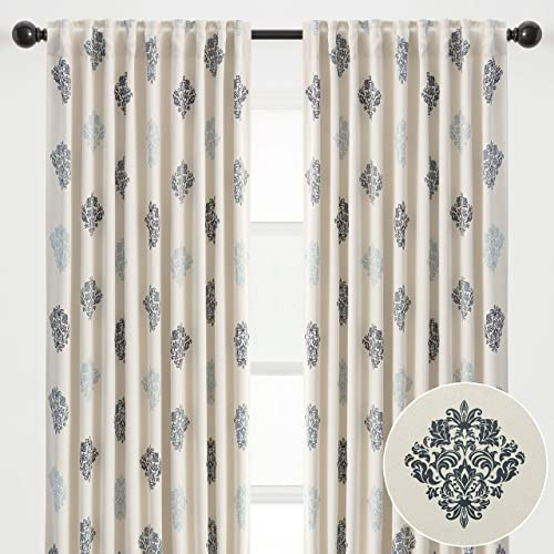 Chanasya 2-Panel Ornamental Damask Classy Blackout Curtains