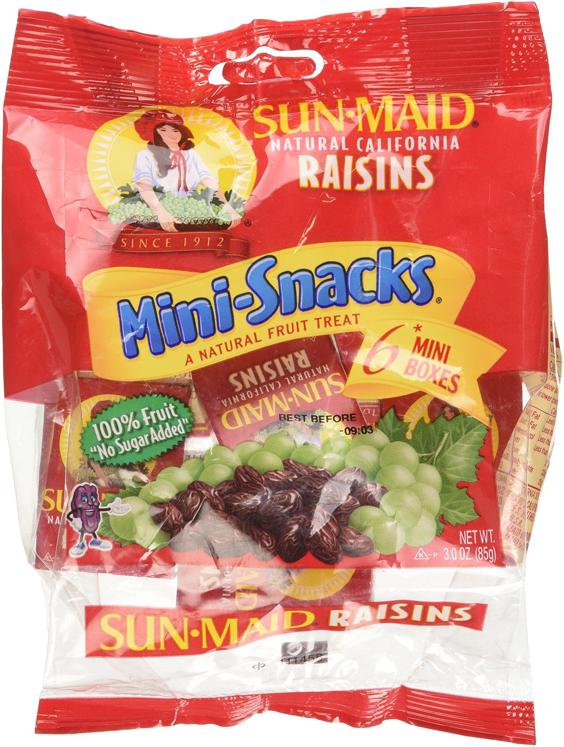 SUN Maid Natural California Raisins Mini-snacks a Natural Fruit Treat: 12 Packs of 6 Mini Boxes (Total of 72 Boxes) - Dt