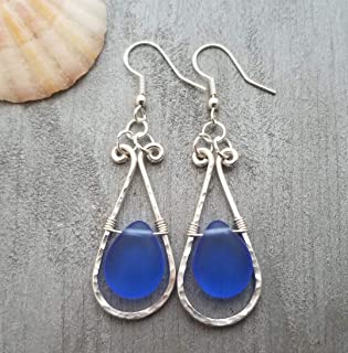 "product image for Handmade in Hawaii, Hammered Wire Loop Cobalt blue sea glass earrings,""September Birthstone"", Freshwater pearl, (Hawaii Gift Wrapped)"
