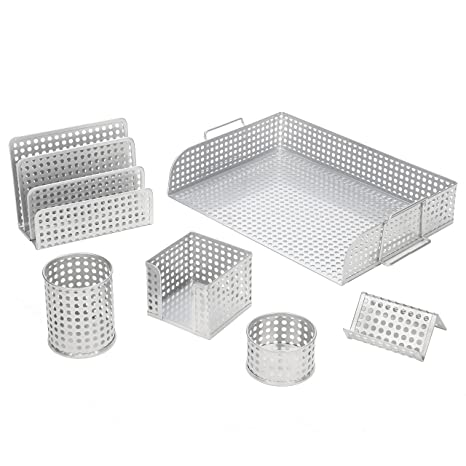 Super Desk Organizer 6 Piece Set Includes Letter Tray Letter Sorter Business Card Holder Pencil Cup Memo Holder And Clip Tray Punched Metal Silver Beutiful Home Inspiration Xortanetmahrainfo