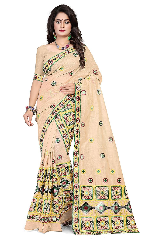 S Kiran's Women's Assamese Chiku Khadi Cotton Mekhela Chador Saree (khadi6323, Chiku)