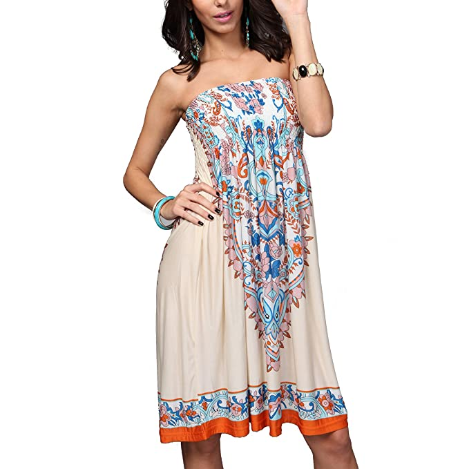 bbbb25cb67 ... up and Kaftans Wraps Ladies Summer Sleeveless Strapless Beach Sundress  Ethnic Bohemian Off Shoulder Floral Printed Bandeau Boobtube Casual Mini  Dress