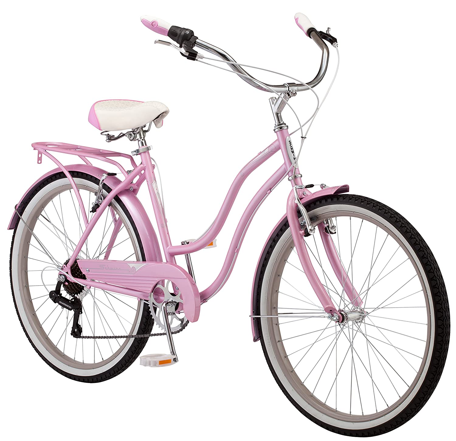Schwinn Perla Women's Cruiser Bicycle, Featuring 18-Inch Step-Through Steel Frame and 7-Speed Drivetrain with Front and Rear Fenders, Rear Rack, and 26-Inch Wheels, Yellow, Blue and Pink Colors