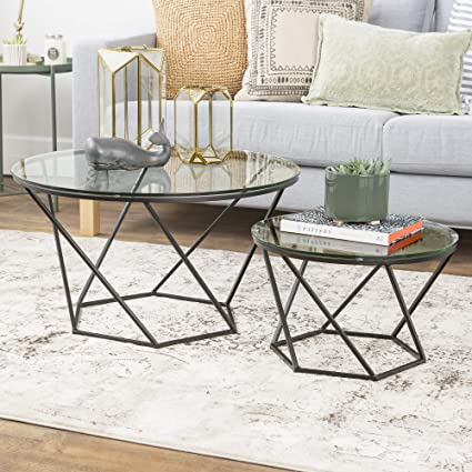 Amazon Com We Furniture Geometric Glass Nesting Coffee Tables