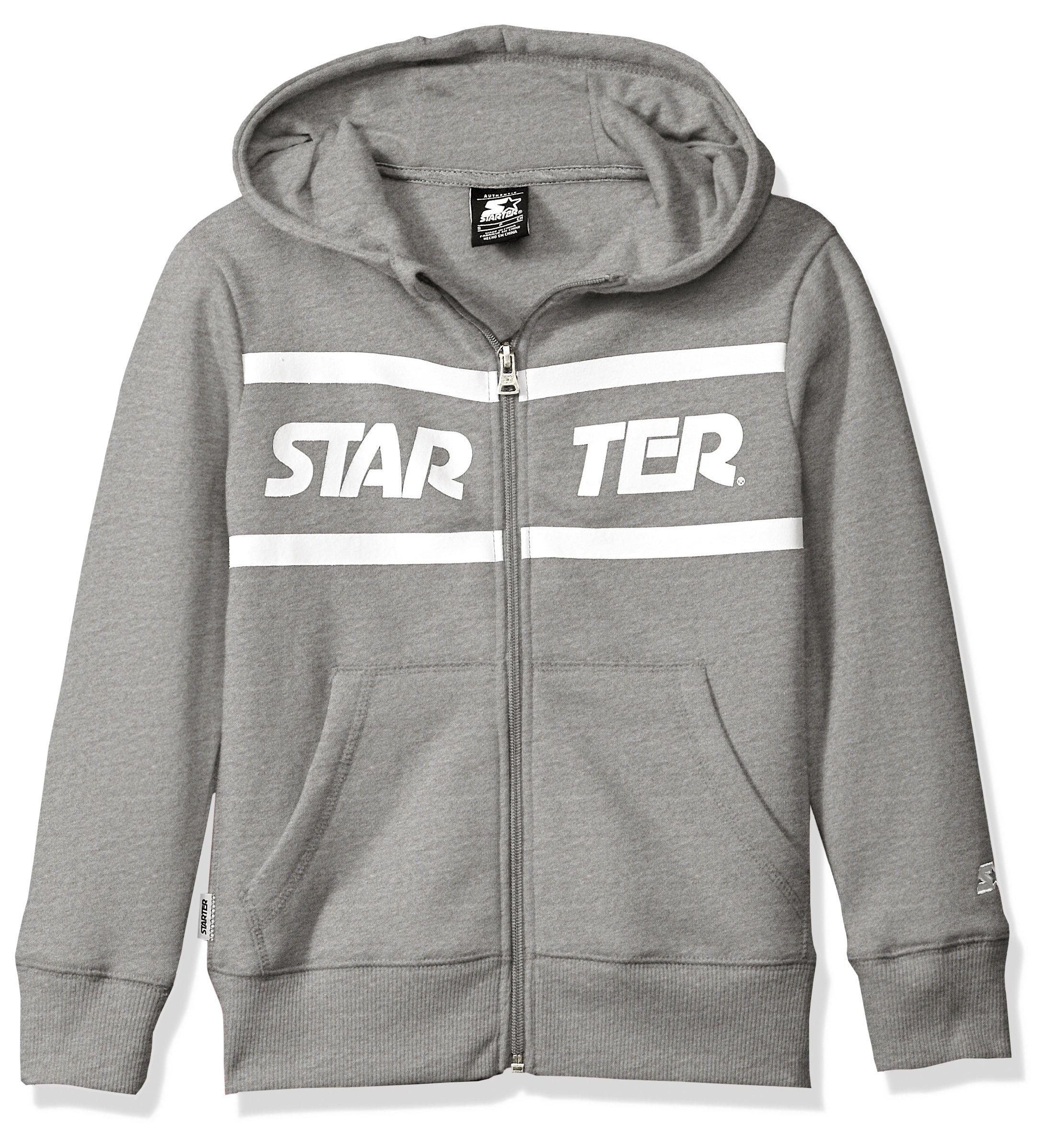 Starter Girls' Zip-up Logo Hoodie, Prime Exclusive, Vapor Grey Heather with Solid Rib, L (10/12)
