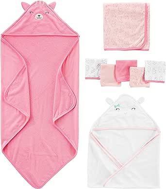 Simple Joys by Carter's - Juego de toallas y paños para bebé, 8 piezas, color rosa/blanco, talla única