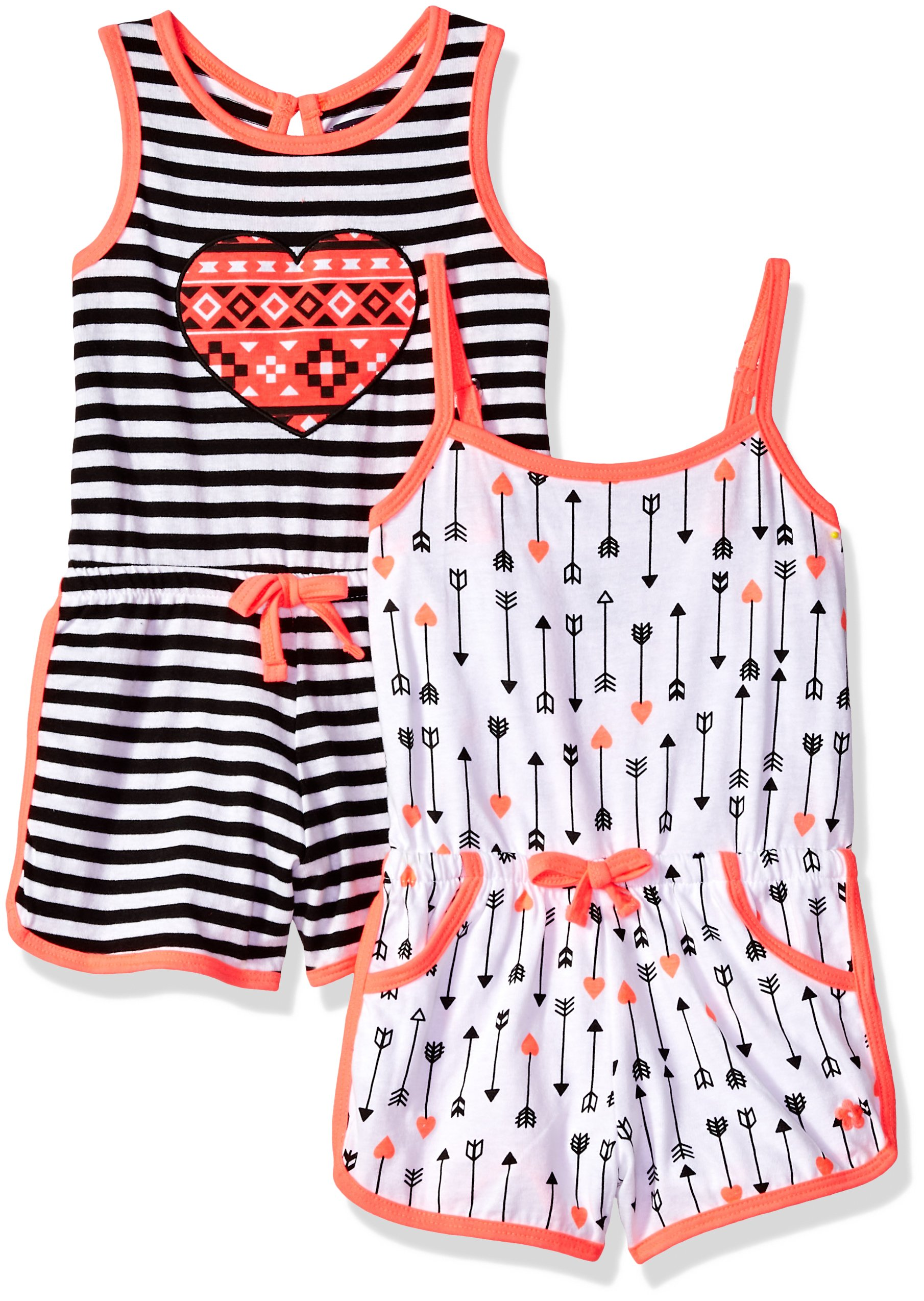 Limited Too Toddler Girls' Romper, Pack Stripe Heart Multi Print, 4T